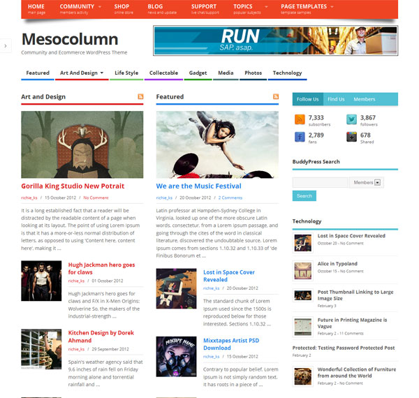 mesocolumn tema wordpress ottimizzato per bbpress e woocommerce