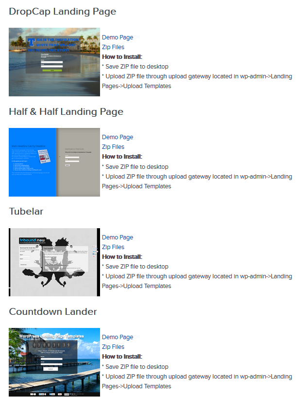 wordpress plugin gratuito e landing-page-template