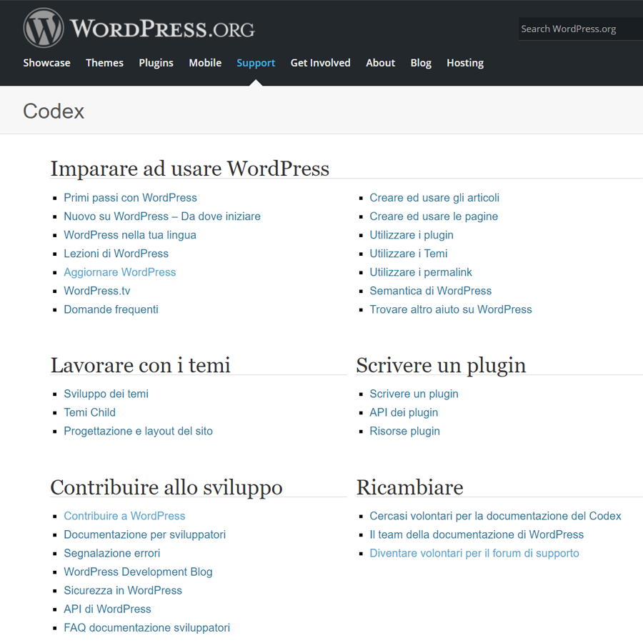 wordpress-codex-pagina ufficiale con forum e tutorial