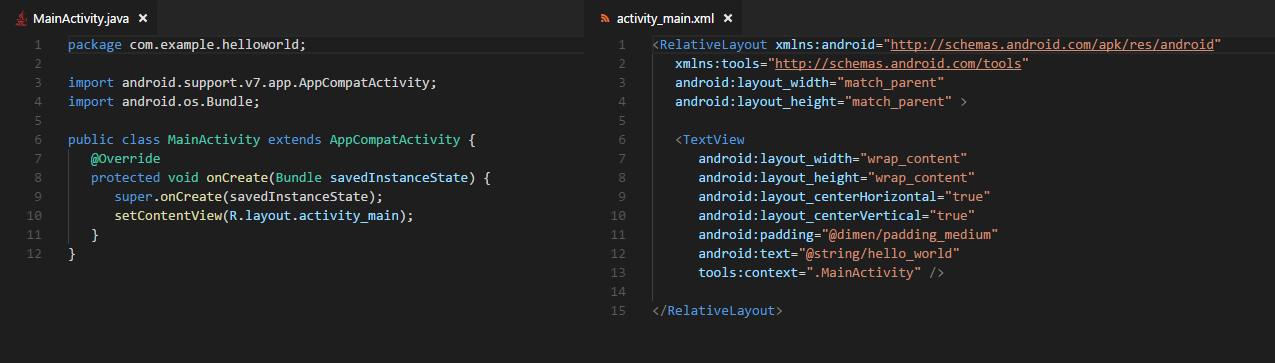 Android codice Java per Hello World